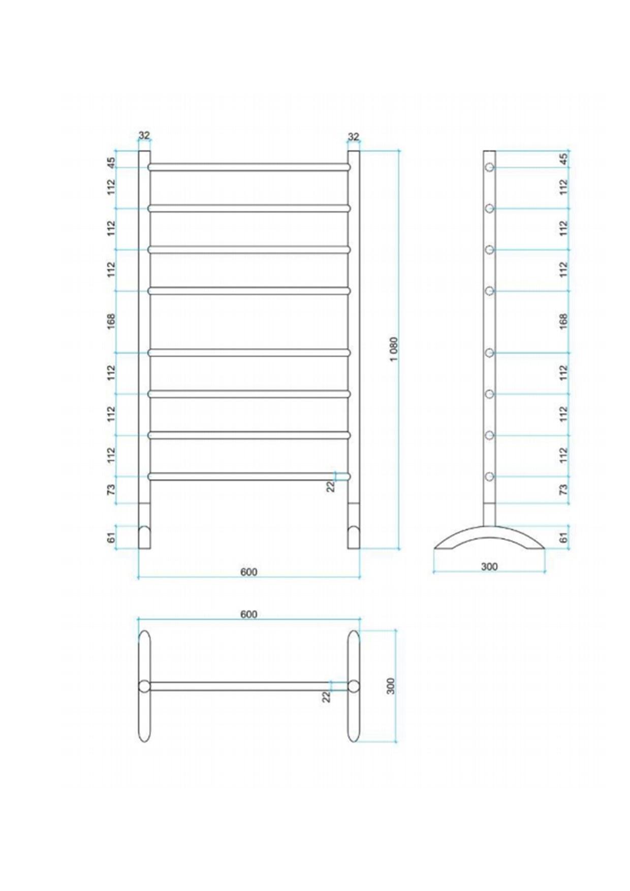 Round freestanding heated ladder specs