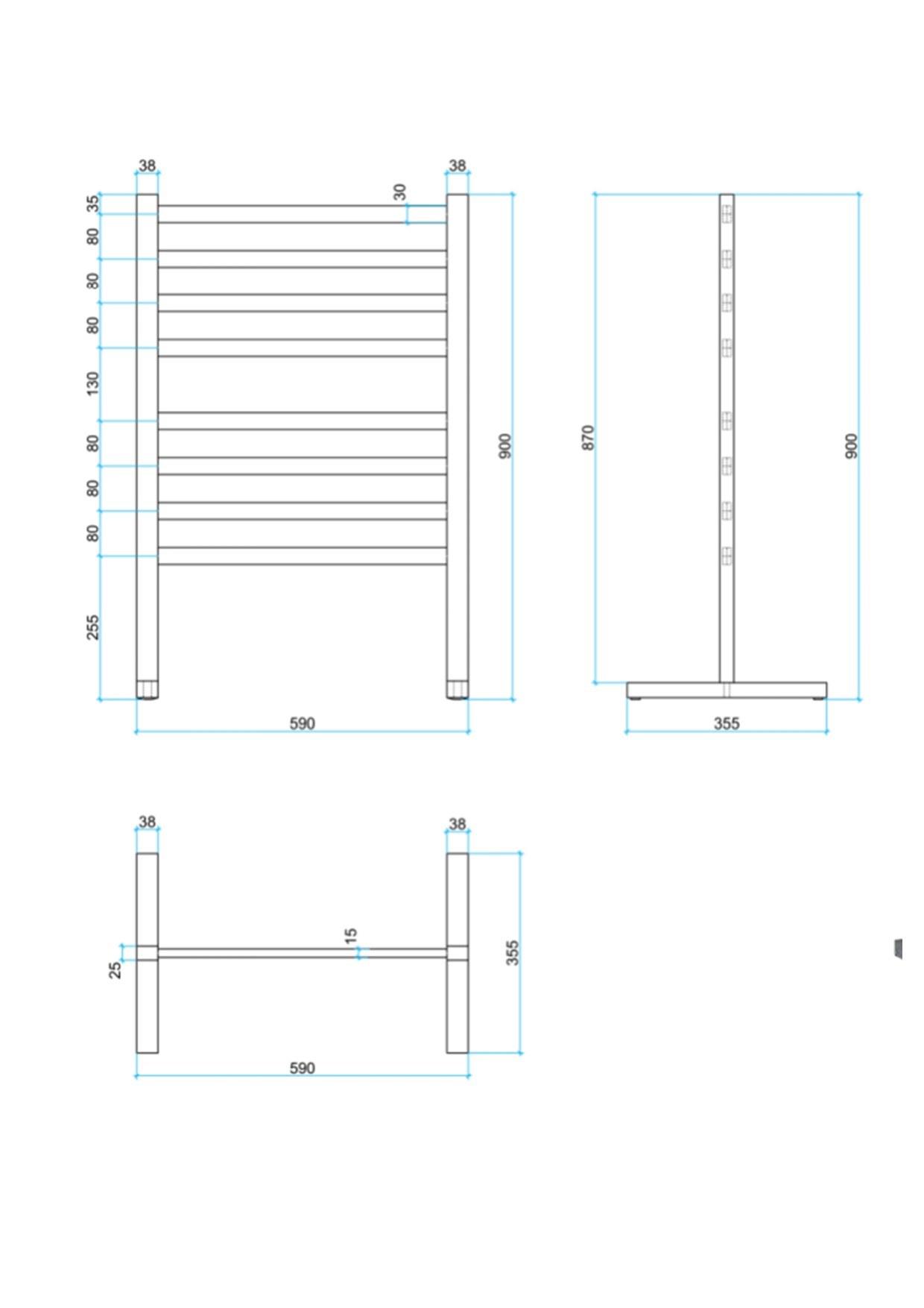 Sq freestanding heated ladder specs