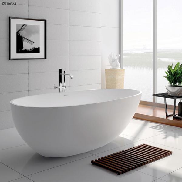 Fienza bahama mattte white stone bath lifestyle 600x600